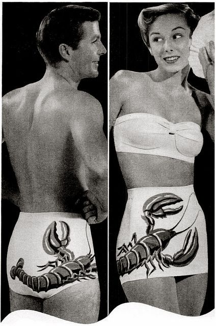 """His & hers matching Catalina lobster bathing swim suits... 
