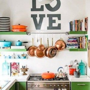 Eclectic Kitchen Style With Wall Decals And Open Shelves And Wall Mount Pot Racj And Green Cabinets , Eclectic Kitchen Style In Kitchen Category