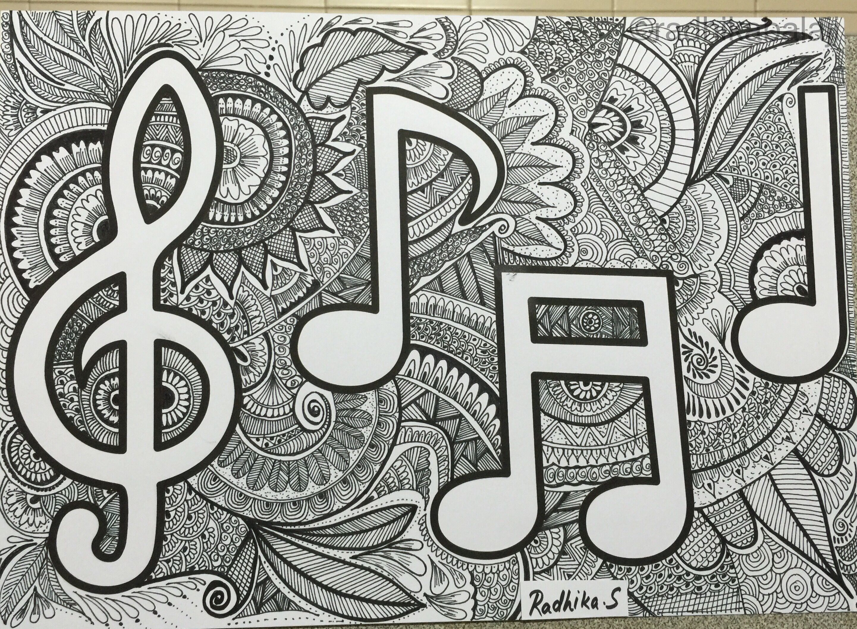 Music Notes Zentangle