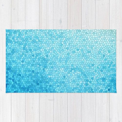 Bath Mat Teal Blue Crackle Mosaic Teal Indigo Aqua Vibrant