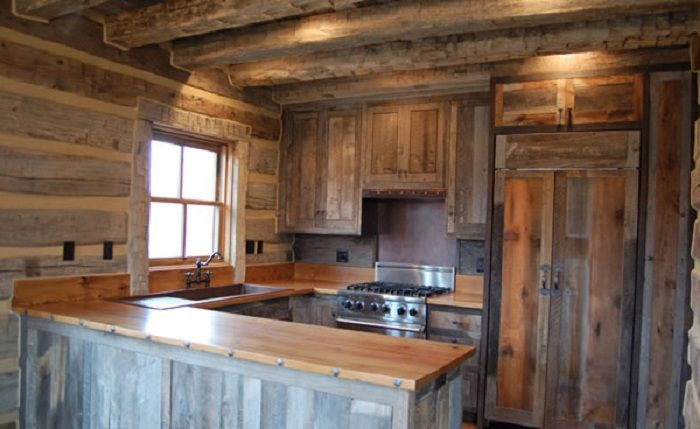 Old Styled Reclaimed Wood Kitchen Cabinet For Rustic House