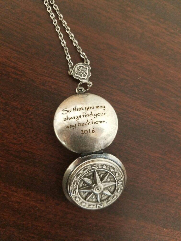 Fiber laser engraved Compass Locket. Graduation gift from ...