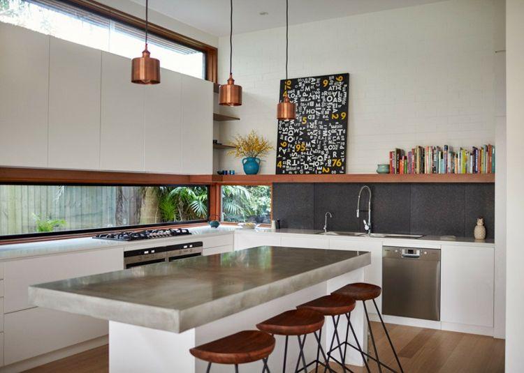 beton-arbeitsplatte-kueche-hochglanz-weiss-design-edelstahl - küchen weiß hochglanz