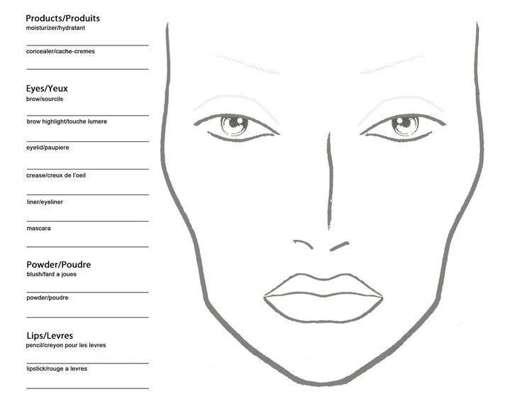 Printable Blank Makeup Face Chart Mac