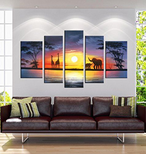 """Hand-Painted """"African Scenery"""" 5-Piece Gallery-Wrapped Flower Oil Painting On Canvas Artland http://www.amazon.com/dp/B00PIG31GQ/ref=cm_sw_r_pi_dp_qeWPvb0FQT1HB"""