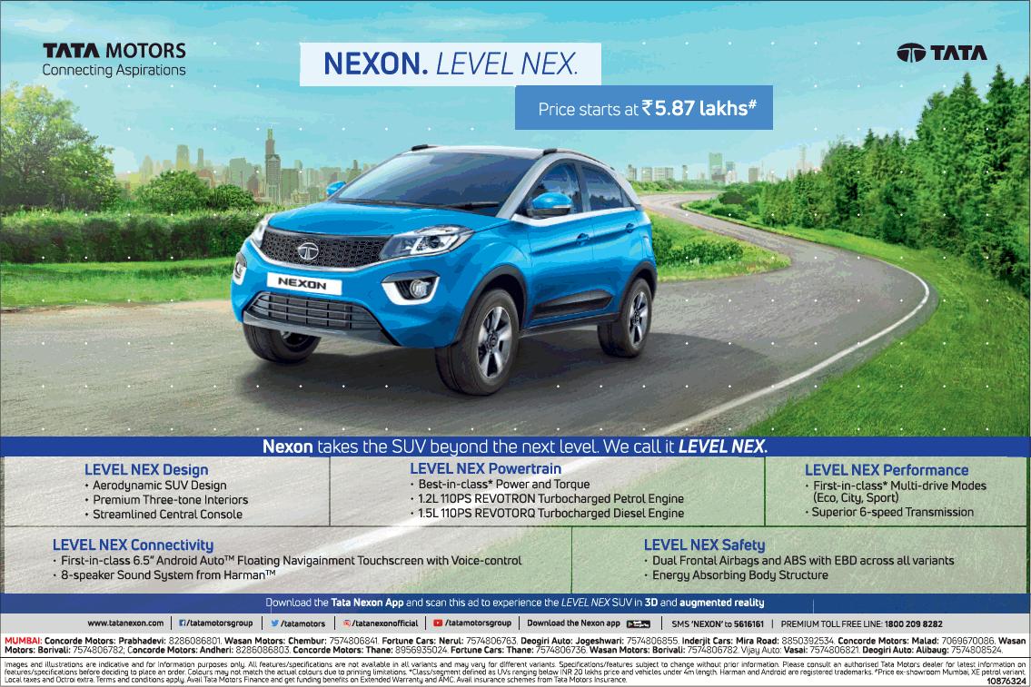 Tata Motors Nexon Level Nex Price Starts At 5.87 Lakhs Ad