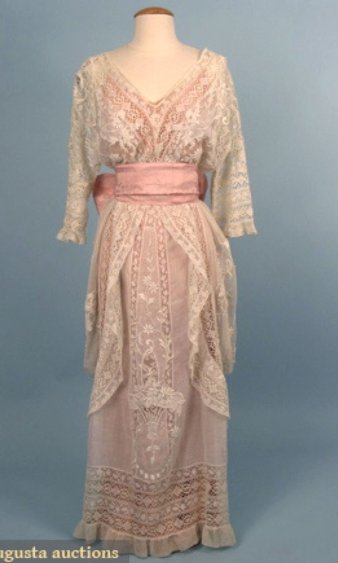 Lace hobbled style tea gown, c. 1913. -piece fashioned from various laces