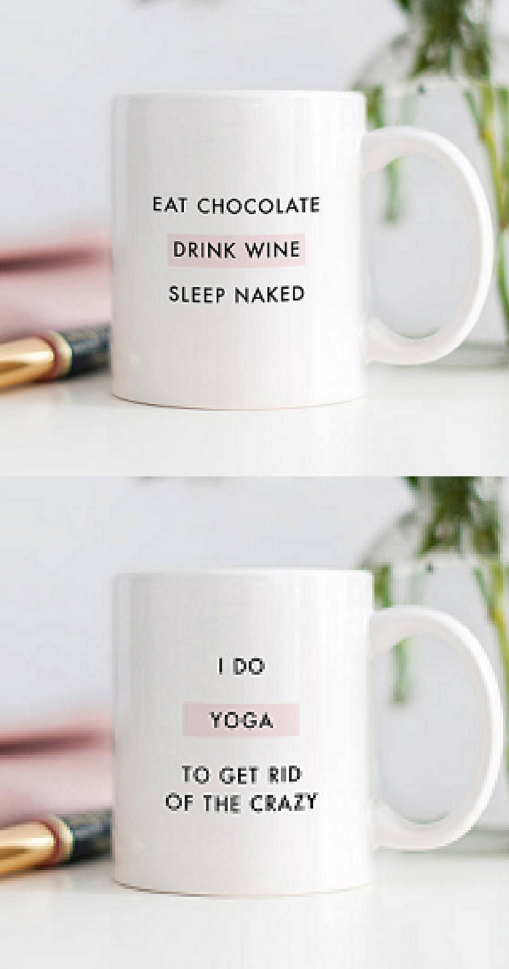 Eat Chocolate, Drink Wine, Sleep Naked Mug. Cute Mugs, Funny Mugs,