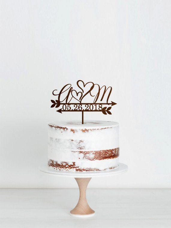 Heart Wedding Cake Topper Initials Cake Topper Wooden Cake