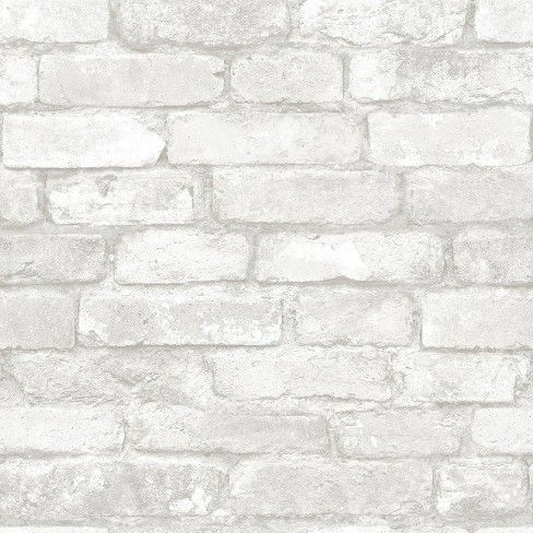 Brewster Brick Peel & Stick Wallpaper White/Gray (With