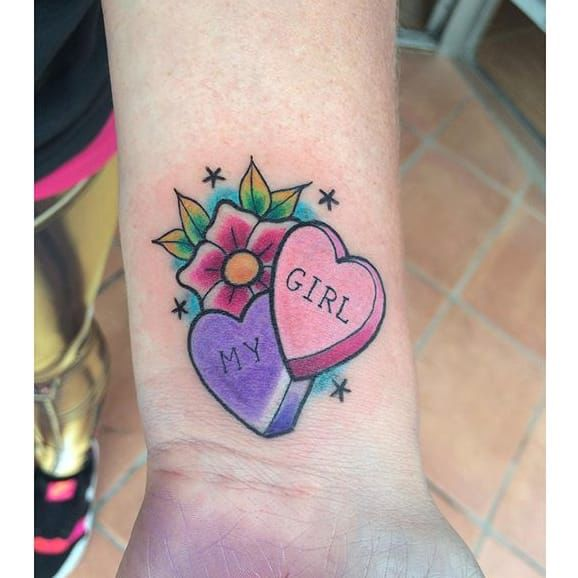 Candy heart tattoo | Tattoo | Tattoos, Heart tattoos with names ...