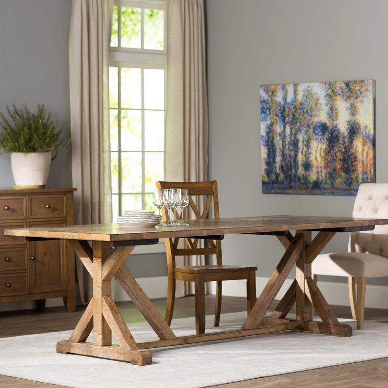 Lilian Farmhouse Trestle Console Extendable Dining Table Dining