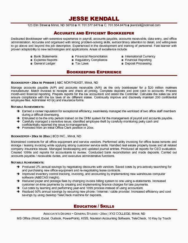 Bookkeeper Resume Resume examples, Resume tips, Bookkeeping