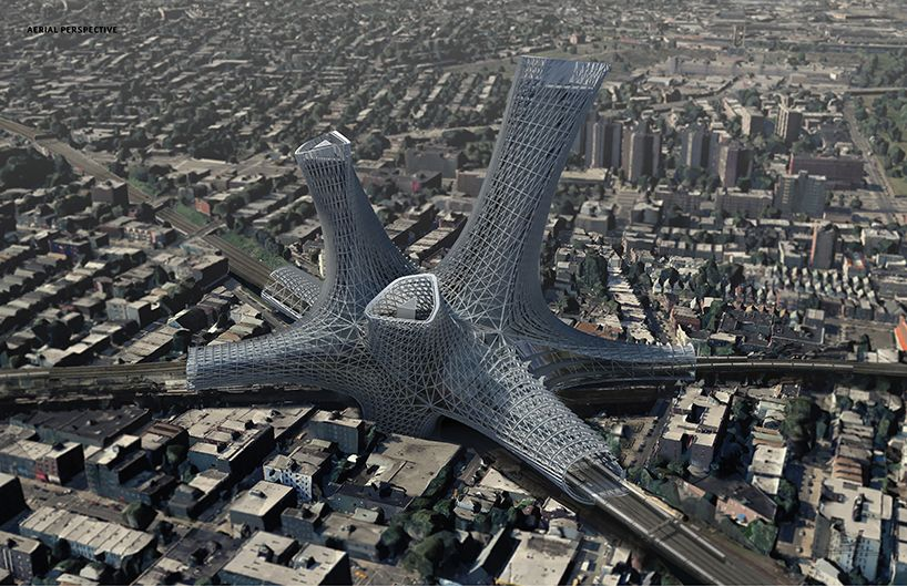 Amlgm Envisions Urban Alloy Tower Over Transportation Hub In New