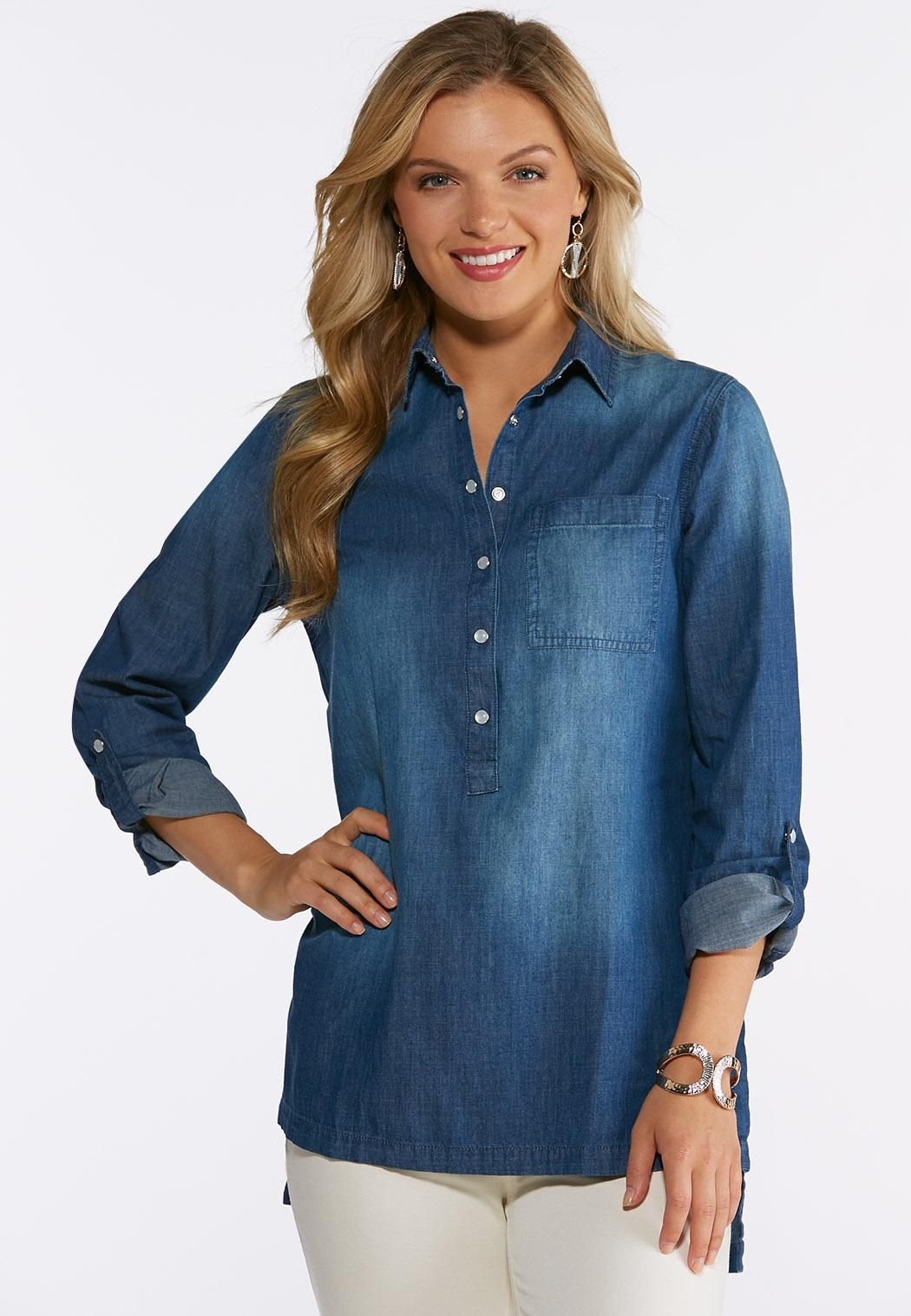 6d851a5d553 Denim Snap Popover Shirt Shirts Cato Fashions in 2019