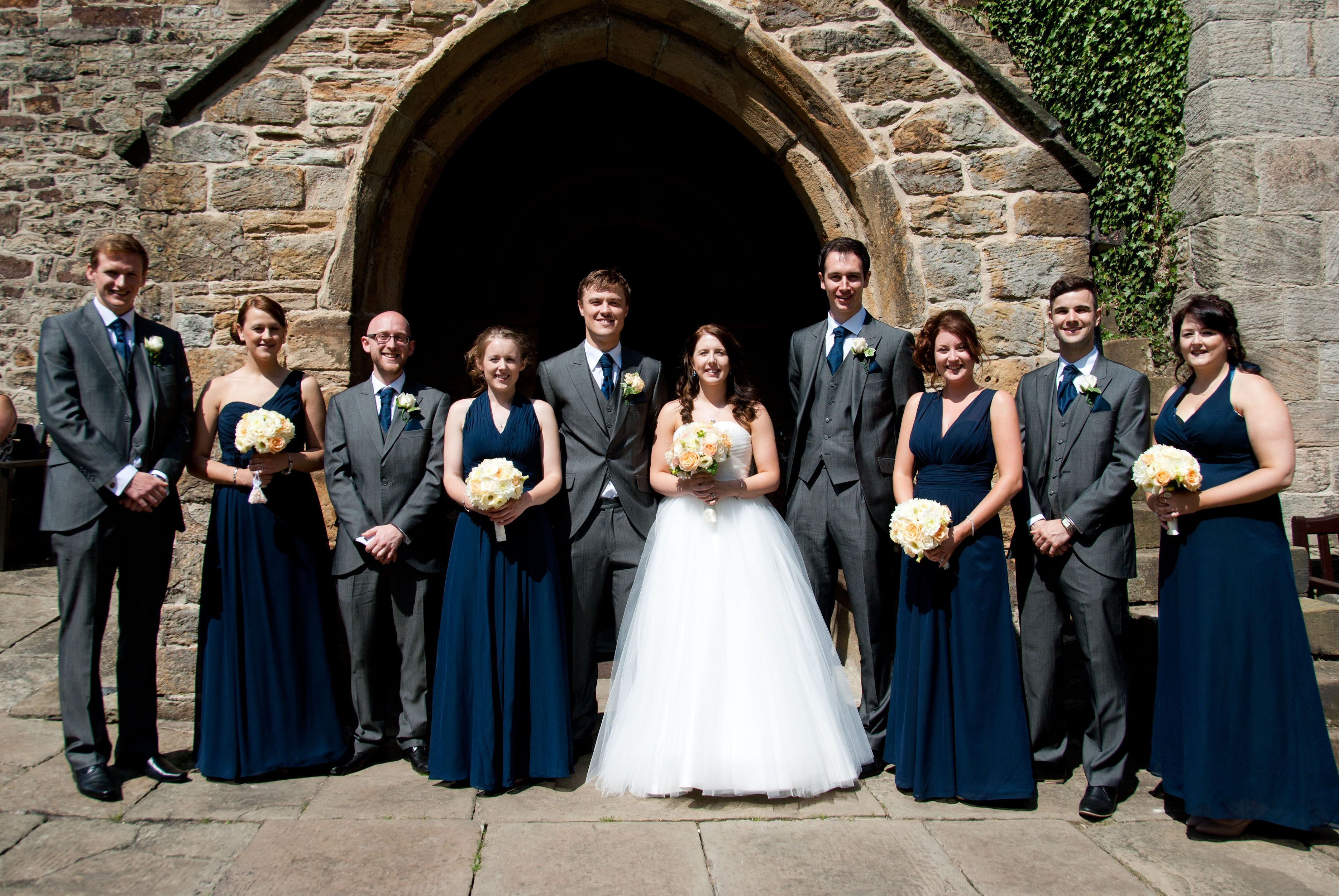 Wedding navy bridesmaids dresses grey suits dark grey ushers wedding navy bridesmaids dresses grey suits dark grey ushers church wedding dress ombrellifo Image collections