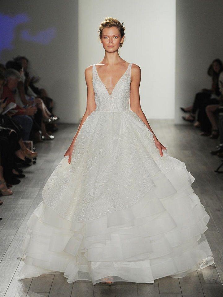 Lazaro Fall 2017 Wedding Dresses,deep v-neck wedding dress | itakeyou.co.uk #vneck #weddingdresses #weddingdress #lazaro #wedinggown