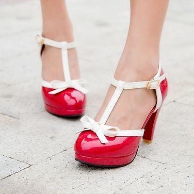 Fashion Womens T-Strap Bowknot High Heel Pumps Lolita Mary Jane Shoes Plus Size