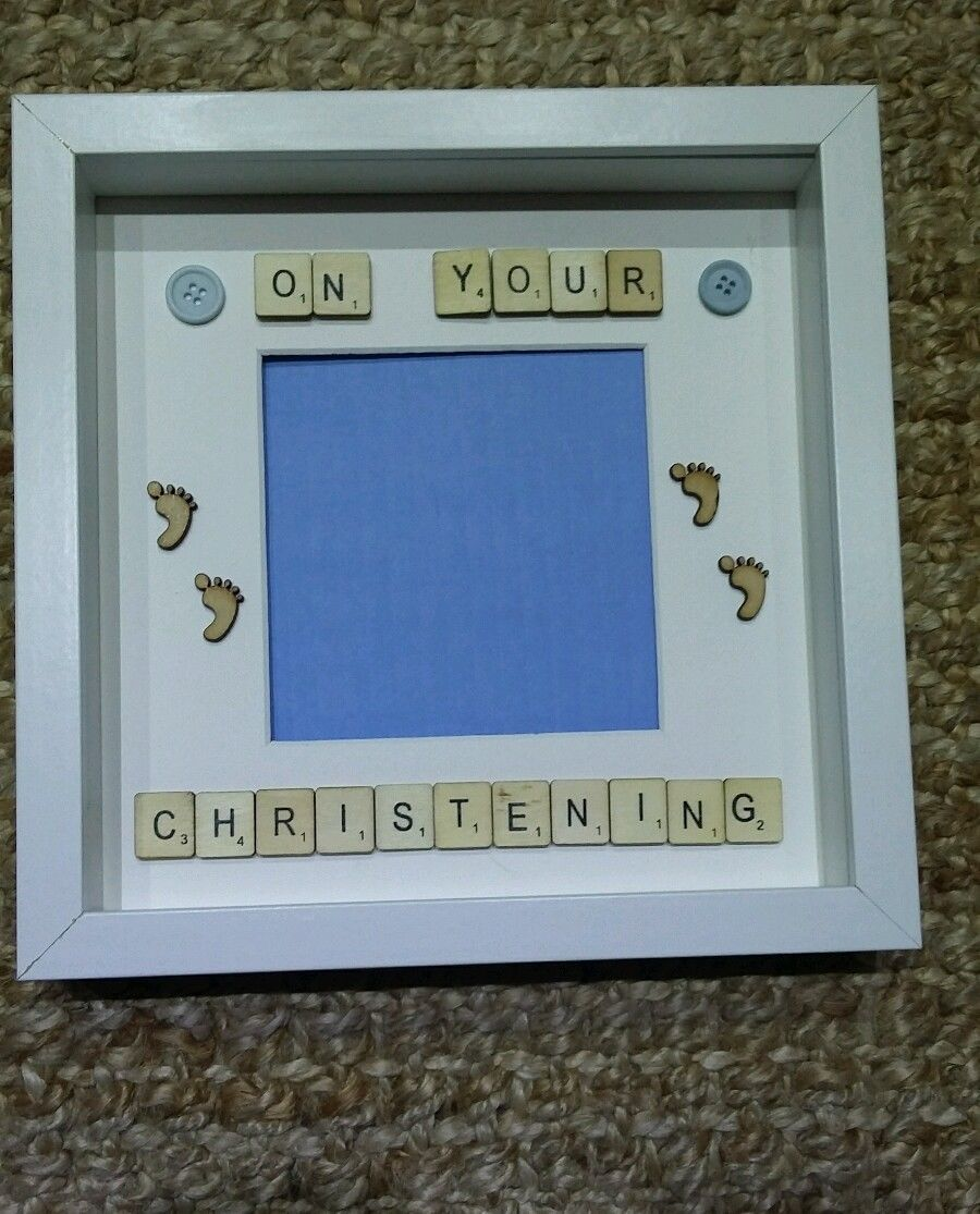 personalised scrabble art frame on your christening day boygirl ebay - Ebay Picture Frames