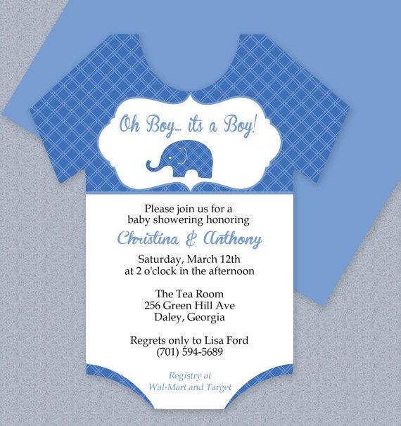 Plaid Elephant Onesie Baby Shower Invitation  Editable Cutout