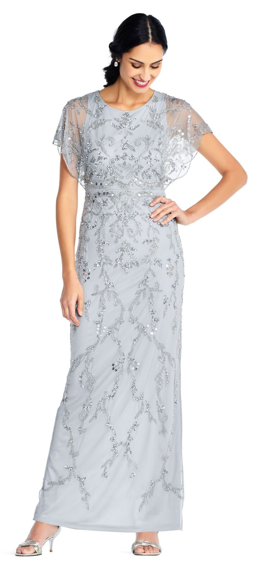 8630548b0ff4c Floral Beaded Gown with Scalloped Flutter Sleeves