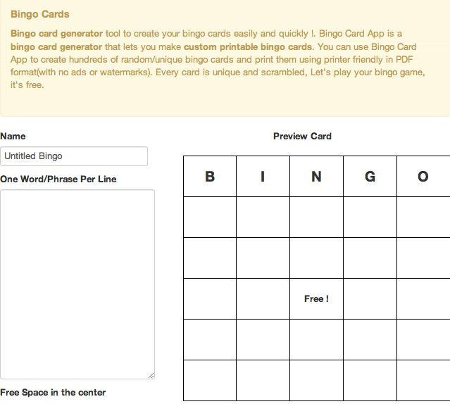 Make And Print Your Printable Bingo