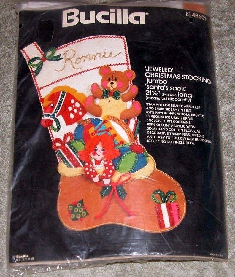 Vintage Bucilla Santa's Sack Jeweled Felt Applique Christmas Jumbo Stocking Kit #Bucilla