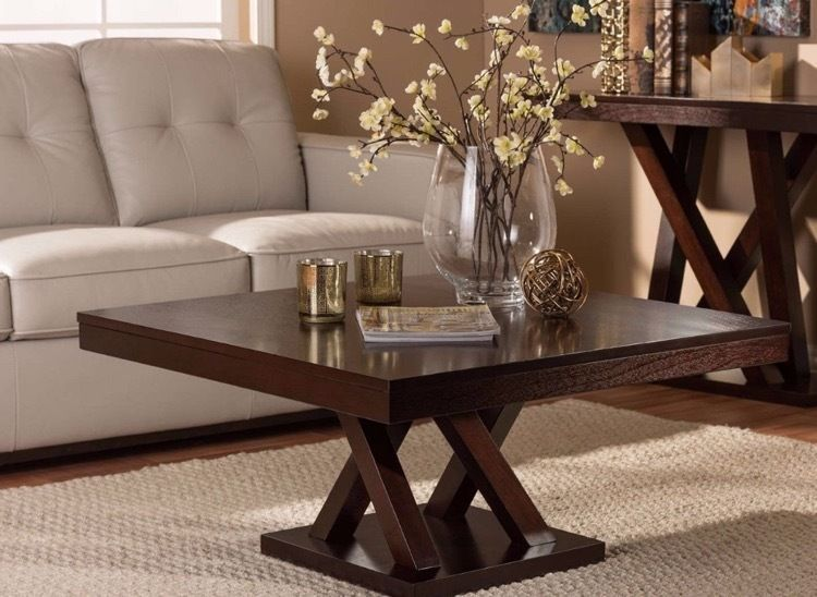 Large Square Coffee Living Room Contemporary Decor Table Dark Wood