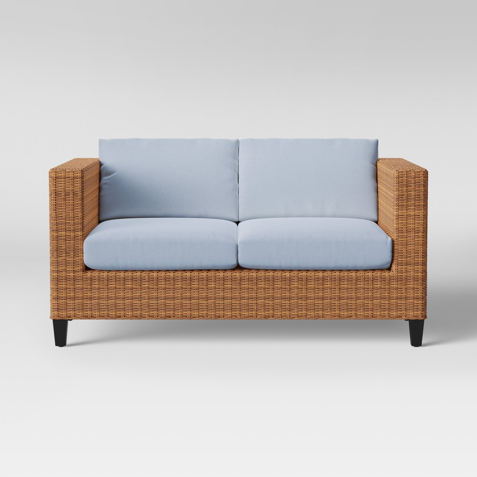 Fine Fullerton Steel Wicker Patio Loveseat Chambray Project 62 Theyellowbook Wood Chair Design Ideas Theyellowbookinfo