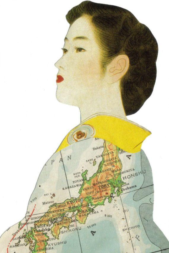 Original Collage Art Japan Map Art Japanese Geisha Kimono Artwork ...