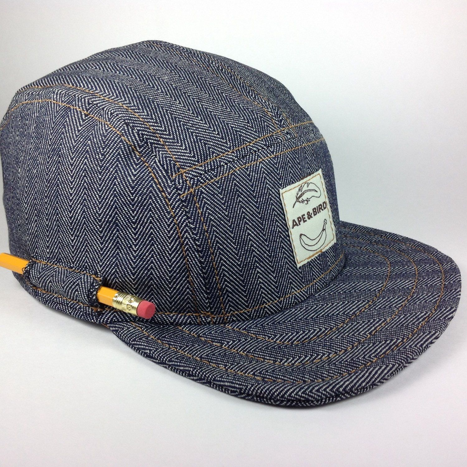 Handmade 5 panel cap. Indigo Herringbone Denim hat with PENCIL Pocket!  (45.00 USD) by ApeNBird da61a3172c1