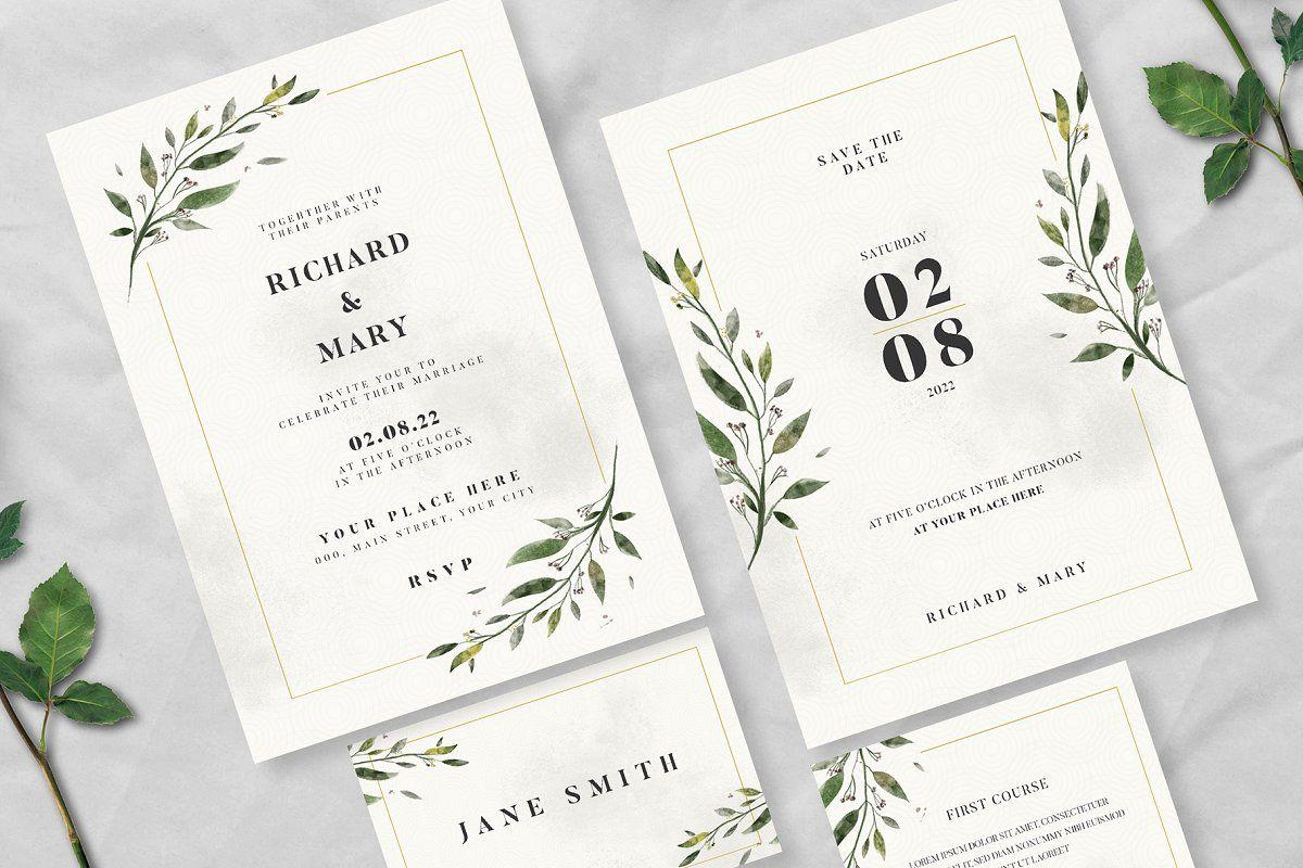 Watercolor Wedding Invitation Suite Invitation Card Download