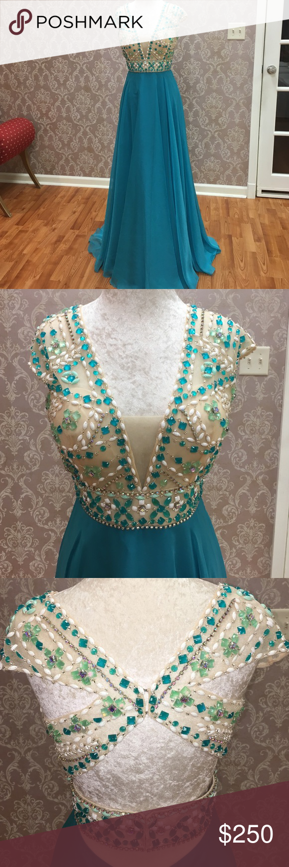 """Rachel Allan Chiffon Formal/Military Ball Dress ❤️ Teal, chiffon beaded dress. Has been tried on a few times and has missing beads but does come with extras. The dress is a size 10 with size 37"""" bust, 29"""" waist, 40"""" hips and 60"""" in length. Rachel Allan Dresses Prom"""