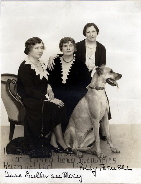 Helen Keller, Anne Sullivan, and Polly Thomson with a Great Dane.