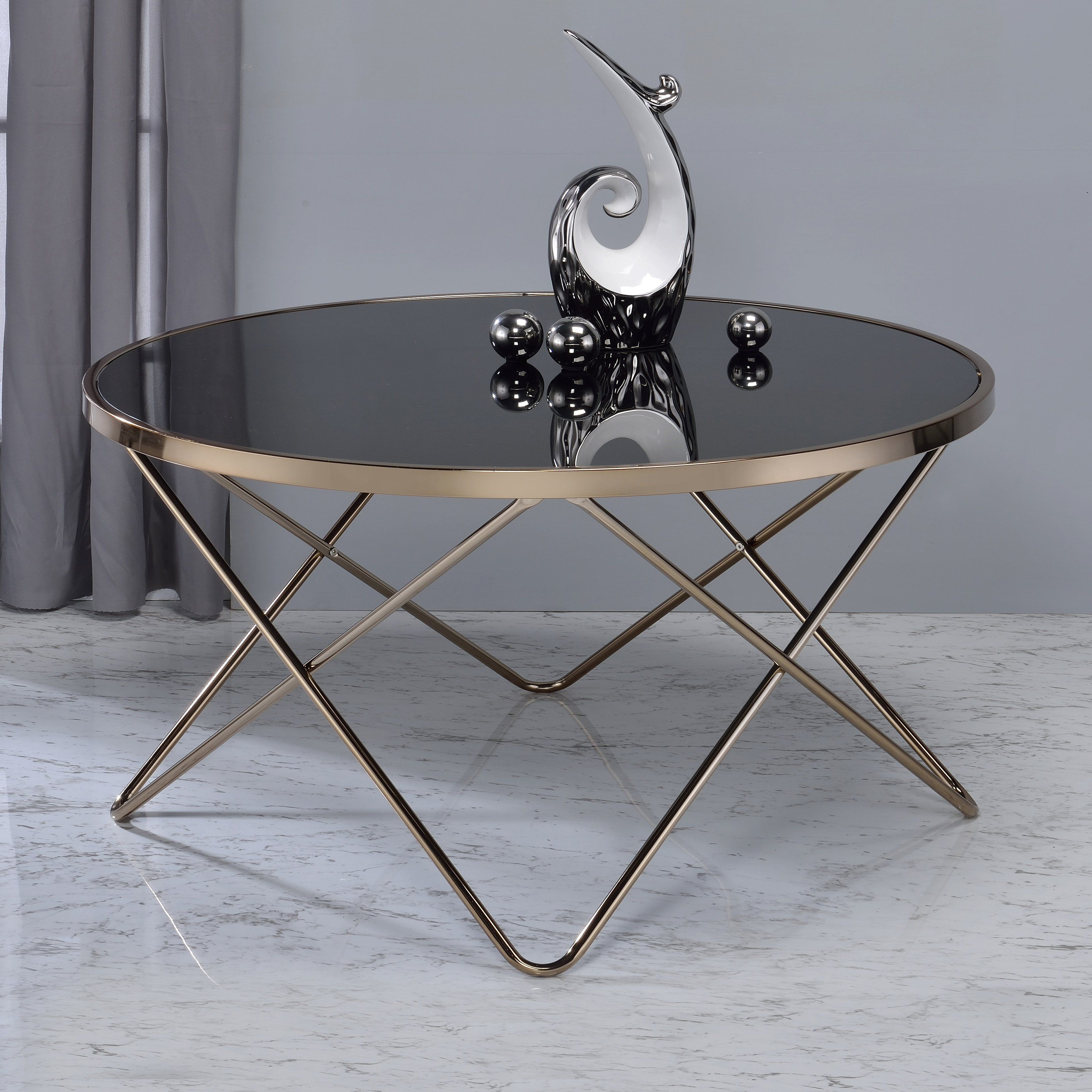 Acme Valora Black Glass Coffee Table Black Glass Coffee Table Modern Glass Coffee Table Round Coffee Table [ 3200 x 3200 Pixel ]
