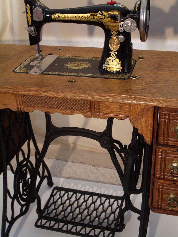 singer treadle sewing machine etsy blackswansewing. Black Bedroom Furniture Sets. Home Design Ideas