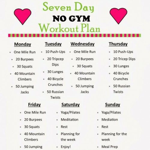 Diary of a Fit Mommy s 7 Day NO GYM Workout Plan | Diet ...