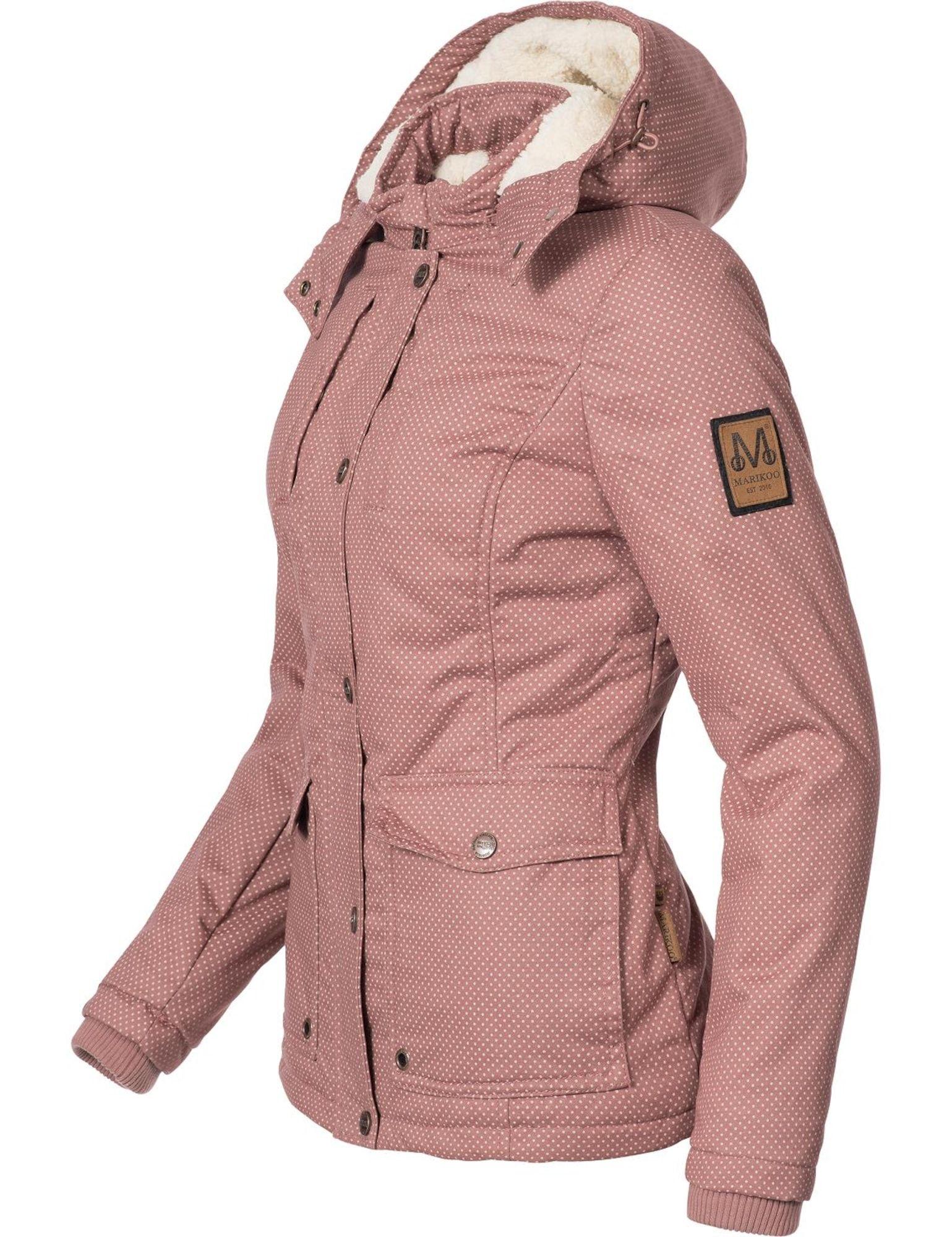 Marikoo Winterjacke Keikoo Damen Altrosa Weiss Grosse L Winterjacken Jacken Und Stehkragen