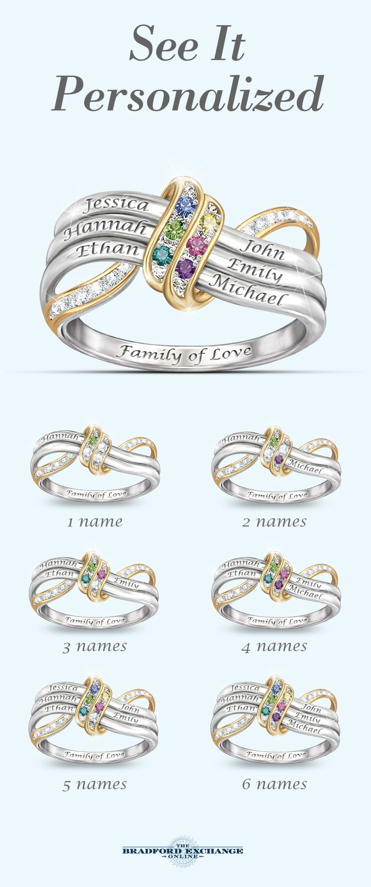 Honor Them All With This Name Engraved Family Birthstone Ring A Unique Personalized Gift Only From The Bradford Exchange Don T Forget That We Offer