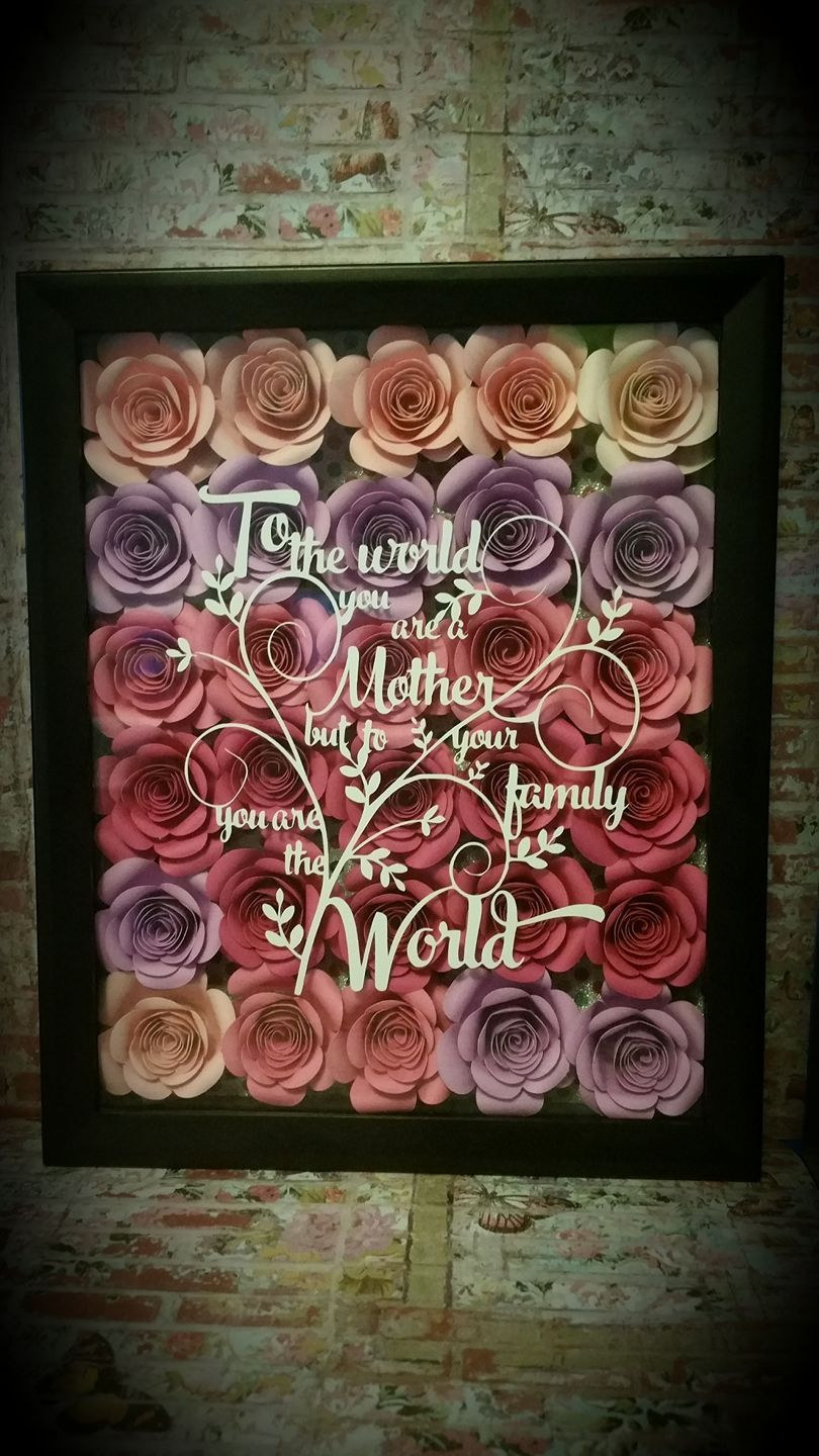 Shadowbox frame with paper flowers. Flower shadow box