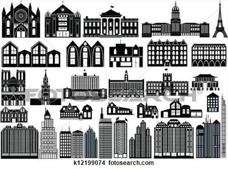 Clipart Of Simple Buildings K12199074 Search Clip Art Illustration Murals Drawings And Vector Eps Graphic Simple Building Building Silhouette Building Icon