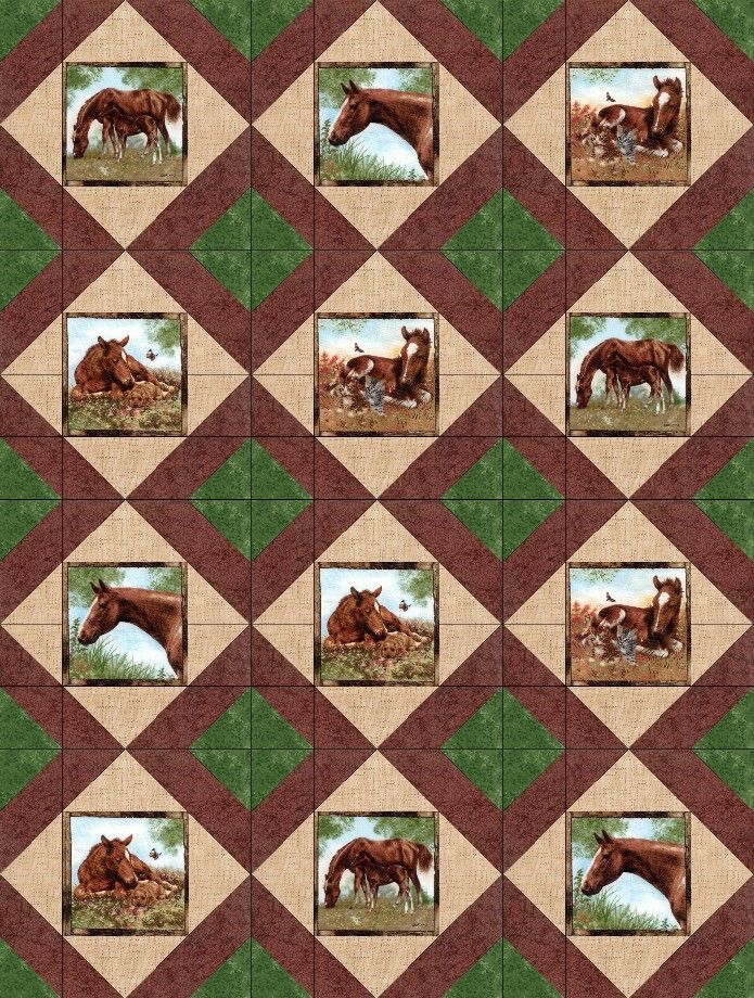 Stable Mates Horses Pre Cut Quilt Blocks Kit 40x50 Quilt Kit Shop