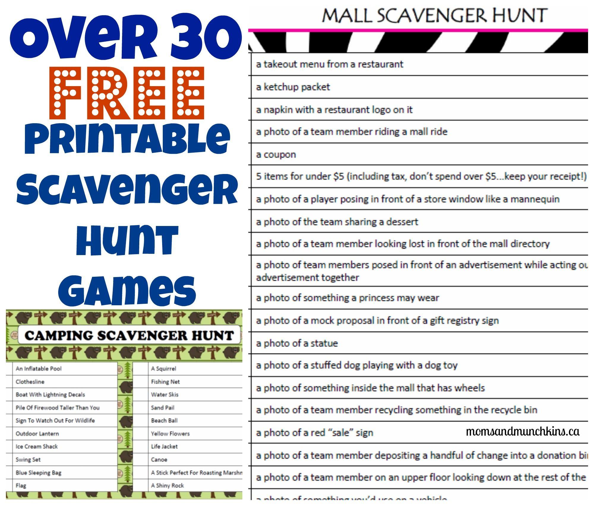 Printable Games For The Entire Family Moms Munchkins Games For Teens Mall Scavenger Hunt Scavenger Hunt