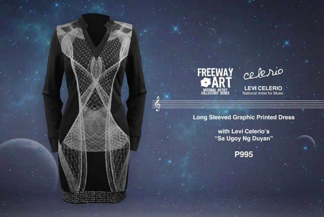 Tailored knit jersey printed long sleeved dress with Levi Celerio 'Sa Ugoy ng Duyan' Lyrics.