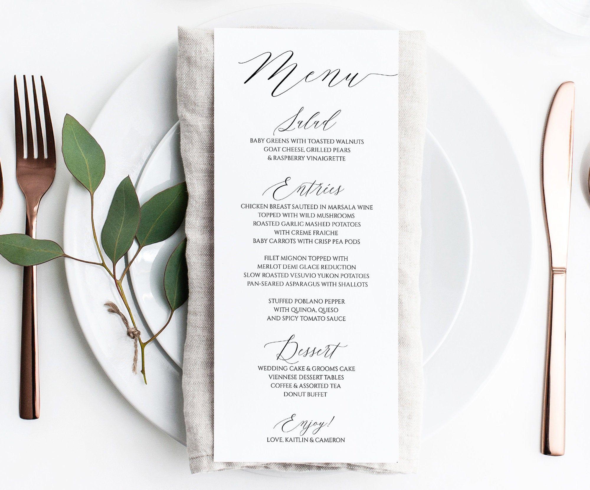 Printable Wedding Menu Template Editable Menu Cards Simple Modern You Edit in Templett
