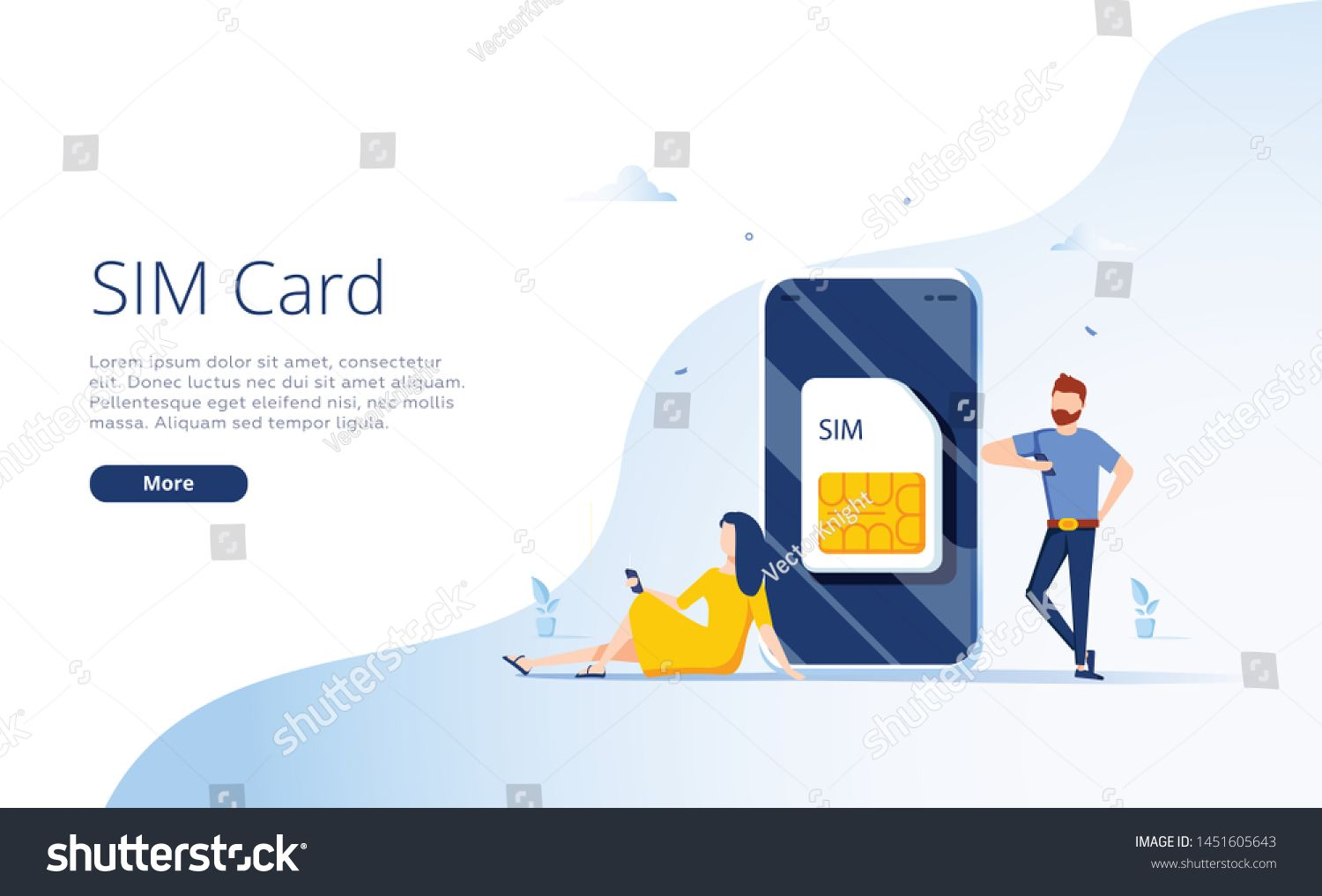 Sim Card Concept In Illustration Mobile Network With Esim