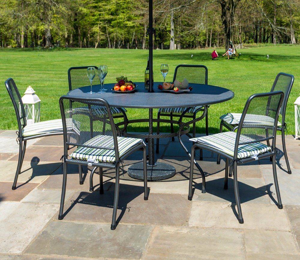 Alexander Rose Portofino 6 Seater Round Dining Set Round Dining Set Garden Dining Set Outdoor Dining Set