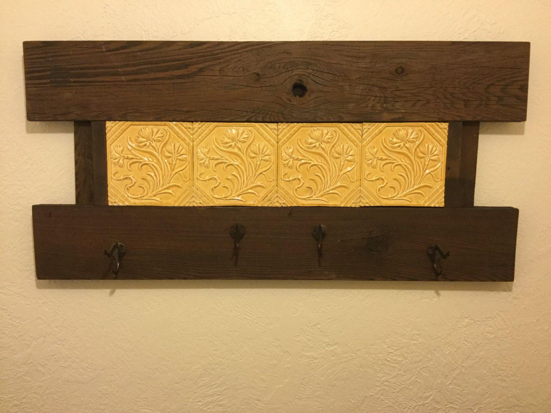 Handmade Reclaimed Redwood Wood Coat Rack Wall Hanger w/ Decorative ...