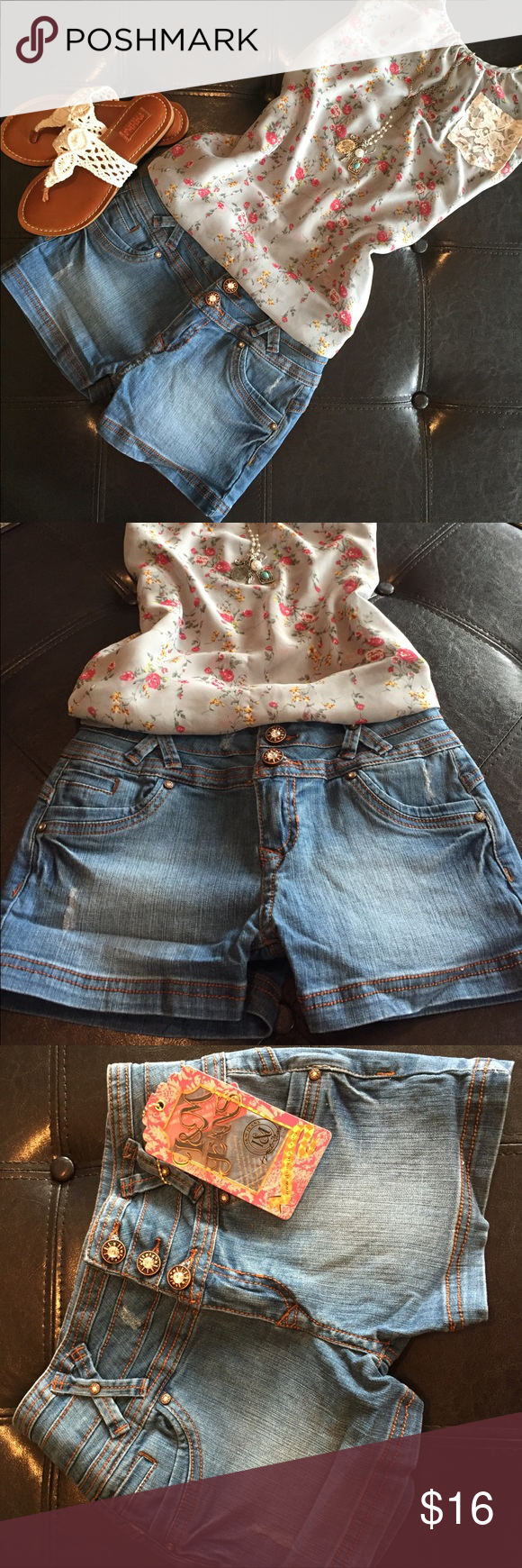 🛍BUTT LIFT DENIM SHORT SHORTS 🛍 🛍BRAND NEW!! Super sexy butt lift blue jean short shorts!! If measurements are needed please comment. 🛍 I & M Jeans  Shorts Jean Shorts