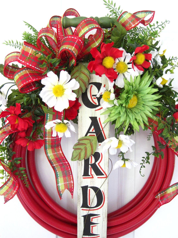RED GARDEN HOSE Wreath  Spring Summer Wood Garden Sign Faucet Bucket Free  Shipping. $90.00